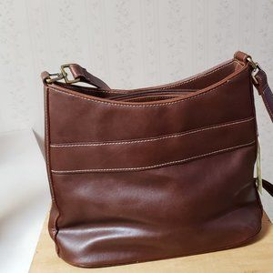 Bueno Handbag in Brown with Cream Stitching